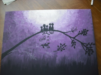 """Cats in Purple."" In progress. Inspired by Google Images for the BBHC Create and Donate Program."