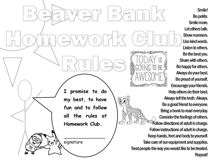 Coloring page - Beaver Bank Homework Club, Beaver Bank Nova Scotia