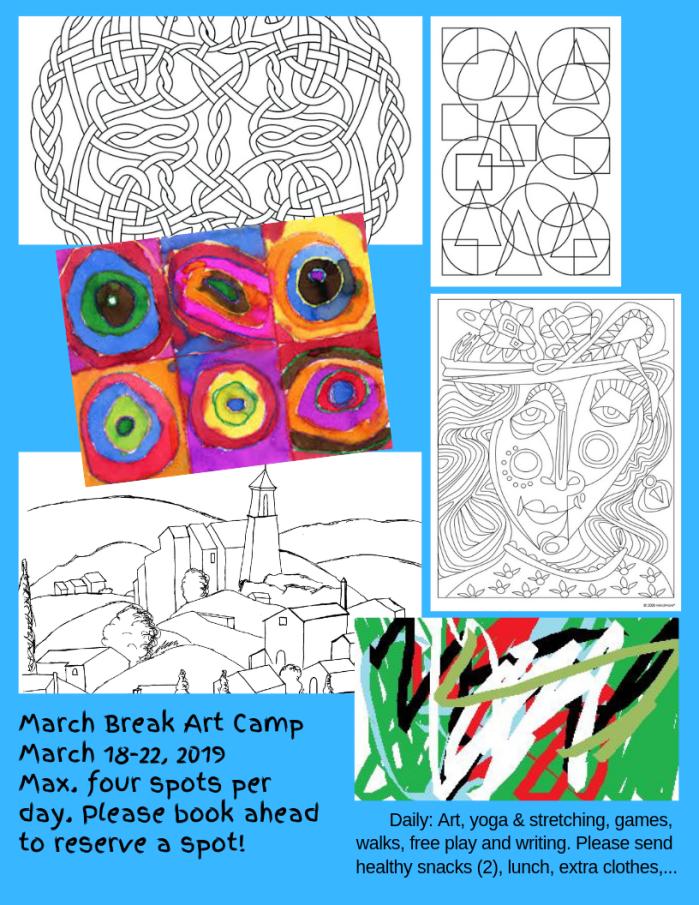 March Break Art Camp March 18-22 Four spots per day.
